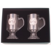 Irish Coffee Glasses Pair Pewter Claddagh Slainte Emblem