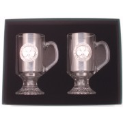 aIrish Coffee Glasses Pair Pewter Shamrock Slinte Emblem