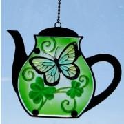 Irish Shamrock Teapot Suncatcher