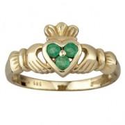 14k Gold 3 Emerald Claddagh Ring