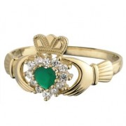 10k Claddagh Ring with CZ and Green Agate