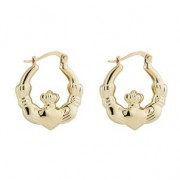 14k Yellow Gold Claddagh Creole Medium Earrings