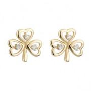 14K Gold 3 Diamond Shamrock Earrings