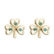 14K Yellow Gold Emerald Shamrock Earrings