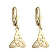 14k Gold Trinity Knot Drop Earrings