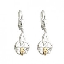 10k Gold Sterling Silver Diamond Claddagh Trinity Drop Earrings