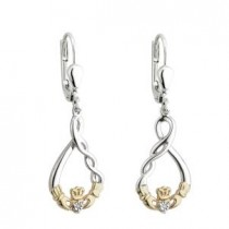 10k Gold Sterling Silver Claddagh Twist Drop Earrings