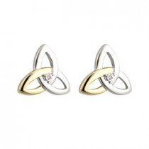 10K Gold Sterling Silver Diamond Irish Trinity Knot Stud Earrings