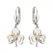 10k Gold Sterling Silver Shamrock Diamond Drop Earrings