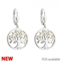 10K Gold Sterling Silver Tree of Life Irish Earrings