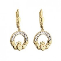 10K Two Tone Irish Claddagh Earrings
