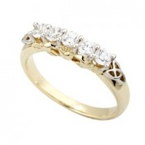 10k Yellow Gold Cubic Zirconia Claddagh Eternity Ring