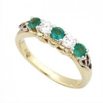 10k Yellow Gold CZ Synthetic Emerald Claddagh Eternity Ring