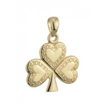 14k Gold Celtic Design Shamrock Irish Charm