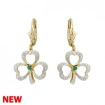 14k Gold Diamond  Emerald Irish Shamrock Drop Earrings