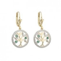 14k Gold Diamond Emerald Tree of Life Irish Earrings