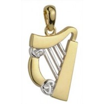14k Gold Diamond Irish Harp Charm
