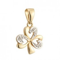 14k Gold Diamond Irish Shamrock Charm