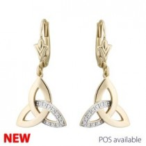 14k Gold Diamond Irish Trinity Knot Drop Earrings