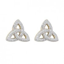 14k Gold Diamond Irish Trinity Knot Stud Earrings