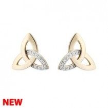 14k Gold Diamond Irish Trinity Knot Earrings Stud