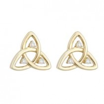 14k Gold Diamonds Irish Trinity Knot Stud Earrings