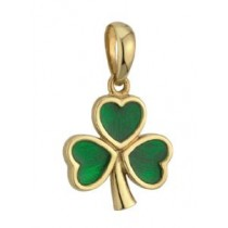 14k Gold Green Enamel Large Shamrock Irish Charm