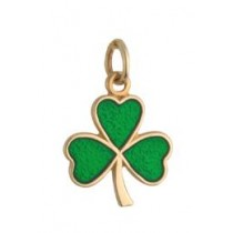 14k Gold Green Enamel Small Shamrock Irish Charm