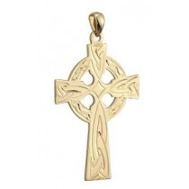 14k Gold Hand Engraved Irish Celtic Cross Charm