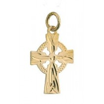 14k Gold Hand Engraved  Small Irish Celtic Cross Charm