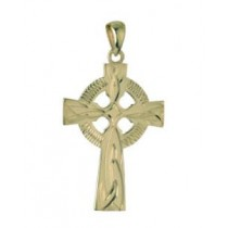 14k Gold Hand Engraved  Medium Irish Celtic Cross Charm