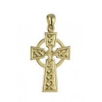 14k Gold Irish Celtic Cross Swirl Charm
