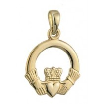 14k Gold Large Claddagh Irish Charm