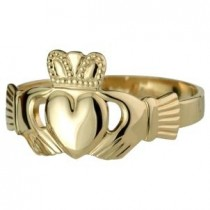 14k Gold Mens Heavy Irish Claddagh Ring