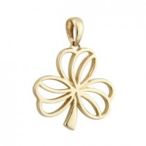 14k Gold Shamrock Irish Charm Open
