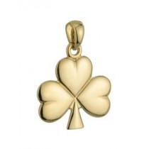 14k Gold Small Shiny Shamrock Irish Charm