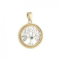 14k Gold Tree of Life Emerald Irish Charm