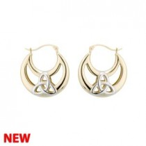 14k Gold Two tone Small Trinity Knot Hoop Irish Earrings