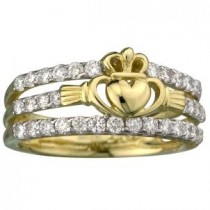 14k Gold Yellow Irish Claddagh Dress Ring Diamonds