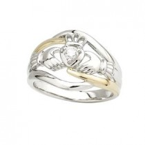 14k Two Tone Diamond Irish Claddagh Ring