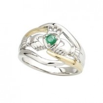14k Two Tone Emerald  Irish Claddagh Ring