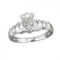 14k White Gold 3 Diamond Heart Claddagh Ring