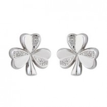 14k White Gold and Diamonds Irish Shamrock Stud Earrings