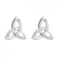 14k White Gold and Diamonds Stud Irish Trinity Knot Earrings