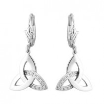 14k White Gold Diamond Accented Irish Trinity Knot Earrings