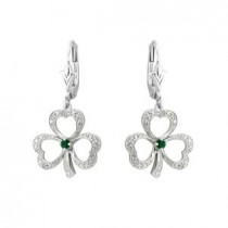 14k White Gold Diamond and Emerald Irish Shamrock Drop Earrings
