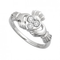 14k White Gold Diamond Irish Claddagh Ring