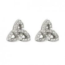 14k White Gold Diamonds Trinity Knot Stud Earrings