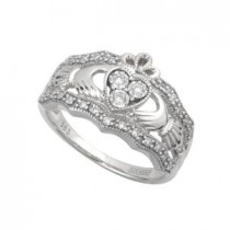 14k White Gold Ladies Ornate Claddagh Ring with Diamonds