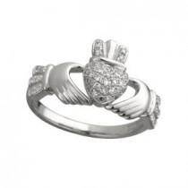 14k White Gold Micro Diamond Claddagh Ring